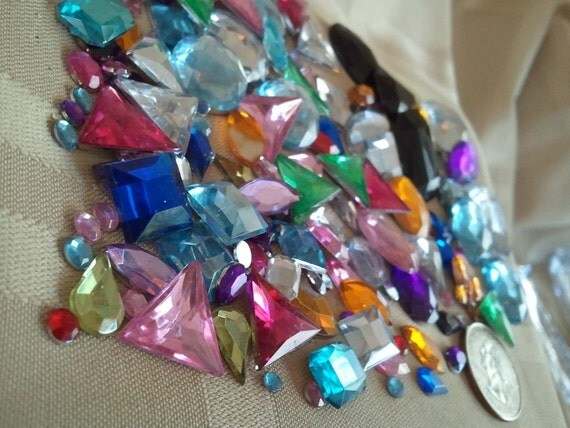 Lot of Multicolor, Various shaped, faceted acrylic Gems  WYSIWYG