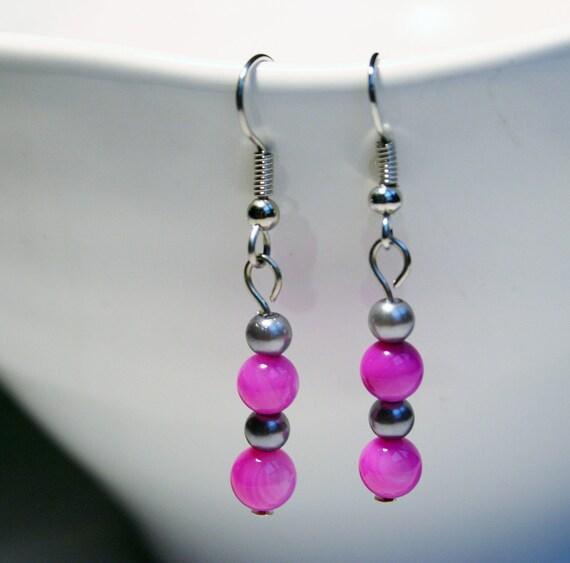 Dangling Beaded Earrings with silver metal