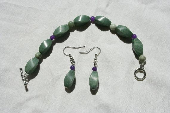 Green Bracelet and Earring Set