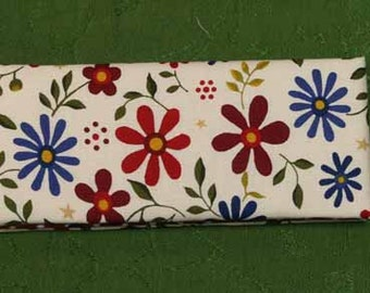 Magic Wallet - Billfold Red and Blue Flowers with Polka Dots
