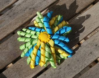 Hair Bow Clip - Korker / Corker Hair Clip with Sunflower