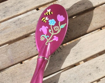 Hand Painted Pink Hair Brush - Floral with 2 Bees
