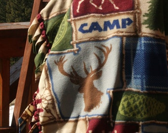 Fleece Blanket - Camp Hike Lodge Print with Woven Edge Father's Day