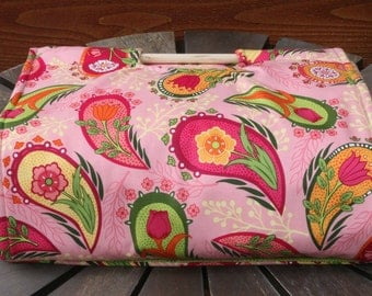 Insulated Casserole Carrier - Pink & Green Paisley, Personalization Available