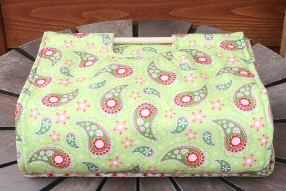 Insulated Casserole Carrier - Paisley on Green, Personalization Available