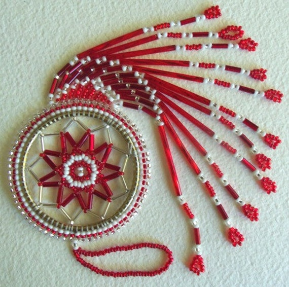 Authentic Native American Beaded Dream Catcher- Red6
