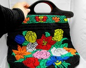 Amazing floral handbag full of thousand of micro plastic spheres. Very retro, super hippie and funny