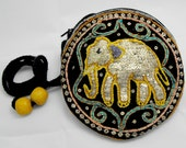 Round mini shoulder bag. Lucky elephant pattern created with sequins