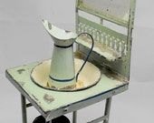RESERVED FOR Timetraveltreasures. Vintage washbasin set tin toy from 1900s. Lovely wash stand