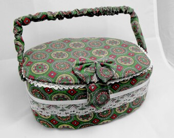 Vintage sewin box in green and red. Geometric decoration, lace and interior pocket