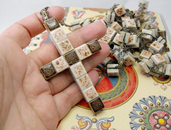 RESERVED FOR Cynthia Duiker. Vintage ceramic rosary handmade in Spain. Mosaic tesserae for wall decor. Christian cross. Very, very RARE