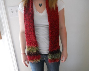 Red/Multi-color Colored Tube Scarf