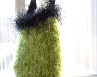 Knit Purse Hand Knitted Sack Purse Soft Green & Black Knitted Sack Purse Medium Size