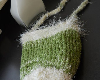 Knit Purse Hand Knitted Sack Purse Soft Light Green & White Knitted Long Sack Purse