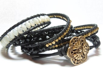 Sei Bella -  Wrap Bracelet, Mother of Pearl, Solid Brass nuggets, Jet Blk Crystal faceted with Vintage button