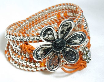 Fall Bloom Wrap Bracelet -- Silver nuggets and tangerine accents on Tahiti Leather Cord