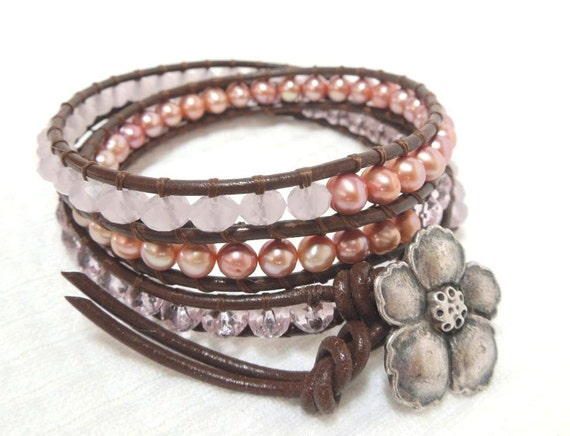 Pink Champagne - Wrap Bracelet, Freshwater pearls, Rose Quartz, Pink crystals on Chocolate Greek Leather