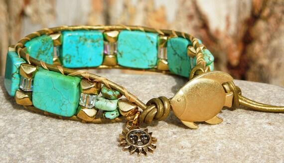 Gold Nugget Turquoise - Wrap Bracelet, Turquoise, large brass nuggets, Swarovski cube crystals