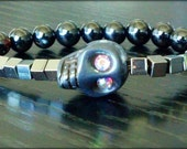 Black Skull Hematite and Agate Bracelet