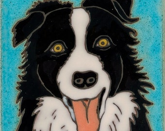 Hand painted ceramic tile Border Collie original art tile