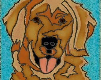 Hand Painted Ceramic Tile Golden Retreiver Dog original art