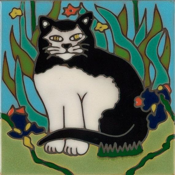 Cat, Tuxedo cat, kitten,hot plate, wall decor, kitchen backsplash, bathroom mural, mosaic installation, original hand crafted in the USA