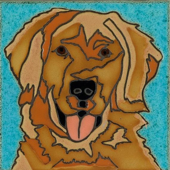 Hand Painted Ceramic Tile Golden Retreiver Dog original art