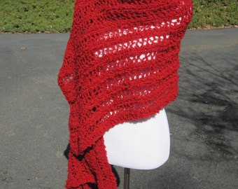 Handmade Wrap Knit Shawl Ariel Lace in Red Boucle
