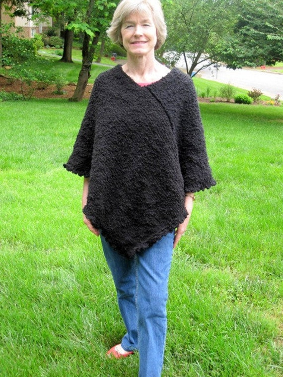 Black Knit Poncho with Scalloped Border
