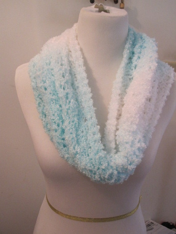 Handmade Scarves Shrug White Green Blue Woman Scarf Cowl Shawl Infinity Snood Circle  Ariel Lace Sea Mist White Knit Wrap