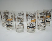 Mid Century Modern Drinking Glasses Set of 6