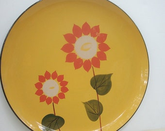 Vintage Serving Tray Sunflower Yellow Orange 1970s
