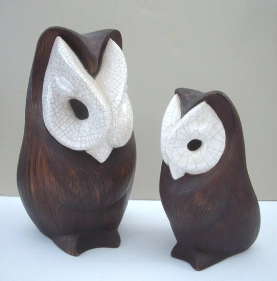 Mid Century Modernist Brayton Laguna Pottery Owl Set