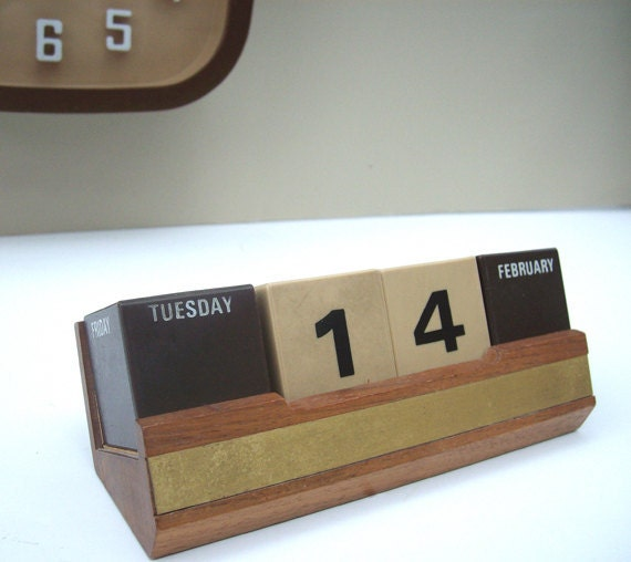 Mid Century Mod Block Perpetual Desk Calendar by Park Sherman