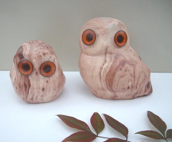 Mid Century Clay Owls Set of 2 Big Eyes