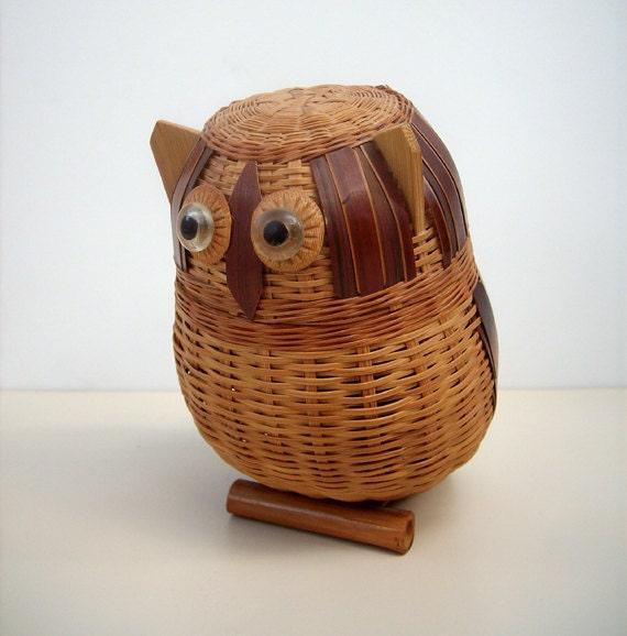 RESERVED for KBURNEY Vintage Mid Century Owl Rattan Basket