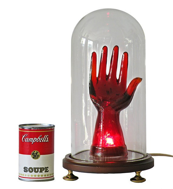 Lamp with Red Glass Hand