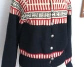 Gorgeous original 1940's Norwegian hand-knit sweater cardigan black red and white design On SALE now was 75 dollars now  55 dollars