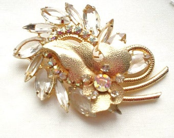 1940s #sparkly pin gold tones /clear stones brooch# glitz #gift for her FAB  Free US shipping