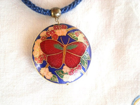 VINTAGE 1980s enamel butterfly with flowers pendant with blue silk cord  18 inches long. /// FREE US shipping///