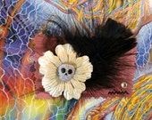 Paper flower barrette skull and feather (can also be made into a pin)creepy halloween gothic lolita cosplay kawaii