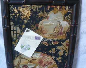 Bulletin Board With Bamboo  Frame Covered with Oriental Themed Fabric