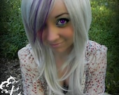 Snow Storm / Light Silver and Purple / Long Straight Layered Wig