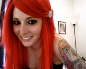 Bright Cherry Red / Long Straight Layered Wig