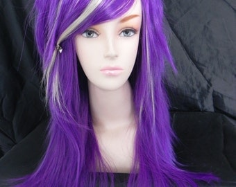 HALLOWEEN SALE / Purple and Blonde / Long Straight Layered Wig - Thick Beautiful Luscious Hair, Purple Wig, Cosplay Wig, Costume Wig