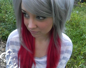HALLOWEEN SALE / De-Frosted / Silver and Red / Long Straight Layered Wig