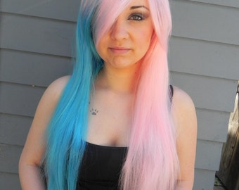 Cotton Candy Swirl / Pink and Blue / Extra Long Straight Wig