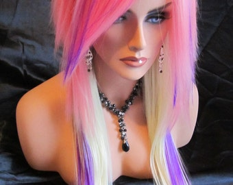 SUMMER SALE // Pink, Blonde and Purple / Long Straight Layered Wig
