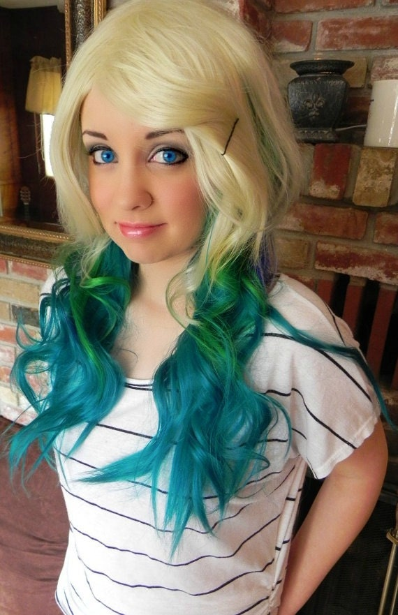 Pacific Paradise Blonde Blue Teal And Green Long By