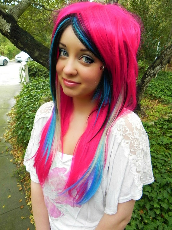 Elisha-Danielle Inspired / Hot Pink, Black, Blonde and Teal Blue / Long Straight Layered Wig